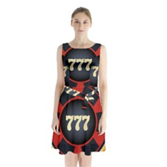 Casino Chip Clip Art Sleeveless Waist Tie Chiffon Dress