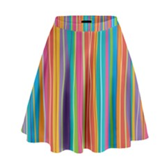 Colorful Striped Background High Waist Skirt