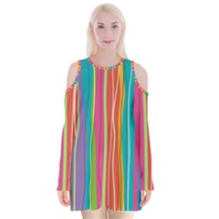 Colorful Striped Background Velvet Long Sleeve Shoulder Cutout Dress by TastefulDesigns