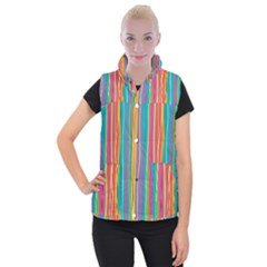 Colorful Striped Background Women s Button Up Puffer Vest by TastefulDesigns