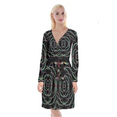 Abstract Spider Web Long Sleeve Velvet Front Wrap Dress
