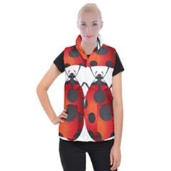 Ladybug Insects Women s Button Up Puffer Vest