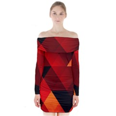 Abstract Triangle Wallpaper Long Sleeve Off Shoulder Dress