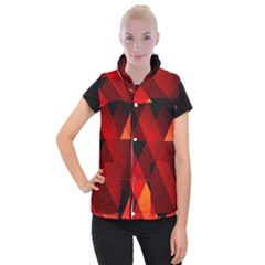 Abstract Triangle Wallpaper Women s Button Up Puffer Vest by BangZart