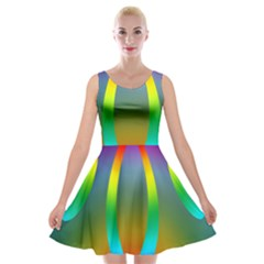 Colorful Easter Egg Velvet Skater Dress