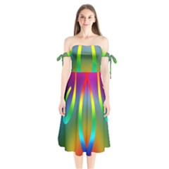 Colorful Easter Egg Shoulder Tie Bardot Midi Dress