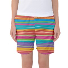 Colorful Horizontal Lines Background Women s Basketball Shorts by TastefulDesigns