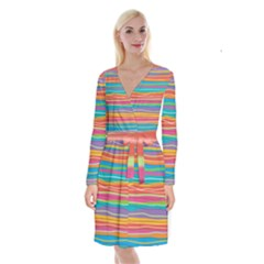 Colorful Horizontal Lines Background Long Sleeve Velvet Front Wrap Dress by TastefulDesigns