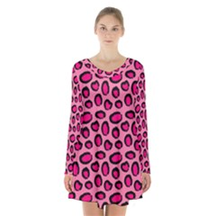 Cute Pink Animal Pattern Background Long Sleeve Velvet V Neck Dress by TastefulDesigns