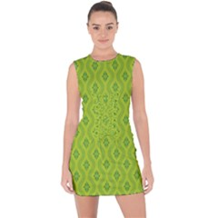 Decorative Green Pattern Background  Lace Up Front Bodycon Dress