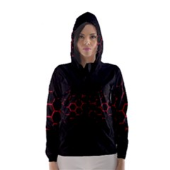 Abstract Pattern Honeycomb Hooded Wind Breaker (women) by BangZart