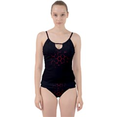 Abstract Pattern Honeycomb Cut Out Top Tankini Set