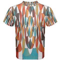Colorful Geometric Abstract Men s Cotton Tee by linceazul