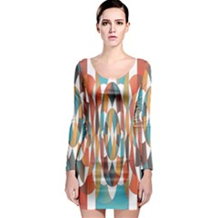 Colorful Geometric Abstract Long Sleeve Bodycon Dress by linceazul