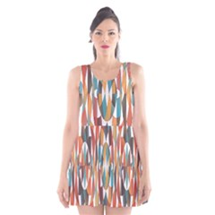 Colorful Geometric Abstract Scoop Neck Skater Dress by linceazul