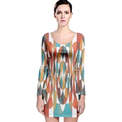 Colorful Geometric Abstract Long Sleeve Velvet Bodycon Dress by linceazul