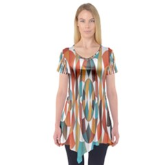 Colorful Geometric Abstract Short Sleeve Tunic