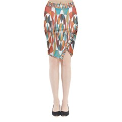 Colorful Geometric Abstract Midi Wrap Pencil Skirt by linceazul