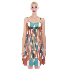 Colorful Geometric Abstract Spaghetti Strap Velvet Dress by linceazul