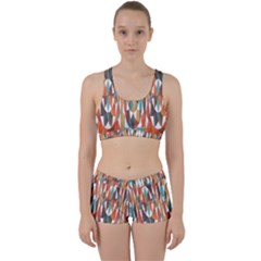 Colorful Geometric Abstract Work It Out Sports Bra Set by linceazul