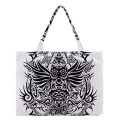 Tattoo Tribal Owl Medium Tote Bag by Valentinaart