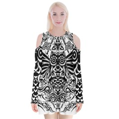 Tattoo Tribal Owl Velvet Long Sleeve Shoulder Cutout Dress by Valentinaart