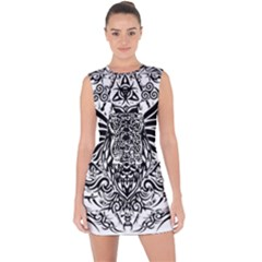 Tattoo Tribal Owl Lace Up Front Bodycon Dress
