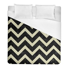 Chevron9 Black Marble & Beige Linen Duvet Cover (full/ Double Size) by trendistuff