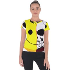 Skull Behind Your Smile Short Sleeve Sports Top  by BangZart
