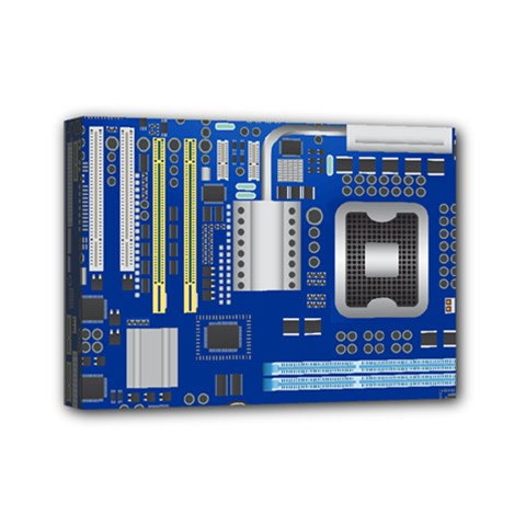 Classic Blue Computer Mainboard Mini Canvas 7  X 5  by BangZart
