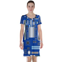 Classic Blue Computer Mainboard Short Sleeve Nightdress