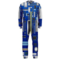 Classic Blue Computer Mainboard Onepiece Jumpsuit (men)