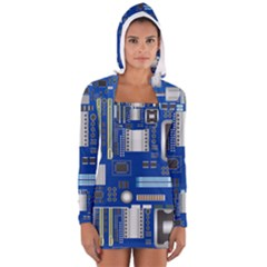 Classic Blue Computer Mainboard Long Sleeve Hooded T Shirt
