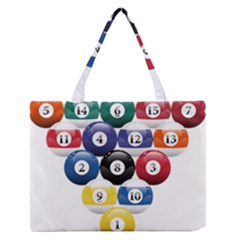 Racked Billiard Pool Balls Medium Zipper Tote Bag by BangZart
