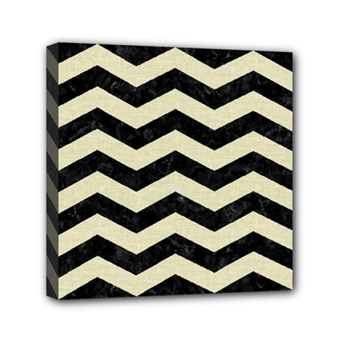Chevron3 Black Marble & Beige Linen Mini Canvas 6  X 6  by trendistuff