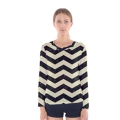Chevron3 Black Marble & Beige Linen Women s Long Sleeve Tee by trendistuff