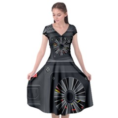 Special Black Power Supply Computer Cap Sleeve Wrap Front Dress