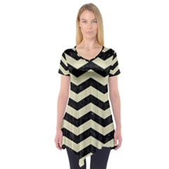 Chevron3 Black Marble & Beige Linen Short Sleeve Tunic  by trendistuff
