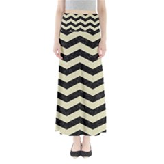 Chevron3 Black Marble & Beige Linen Full Length Maxi Skirt by trendistuff
