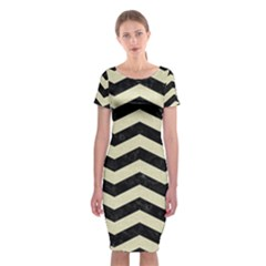 Chevron3 Black Marble & Beige Linen Classic Short Sleeve Midi Dress by trendistuff