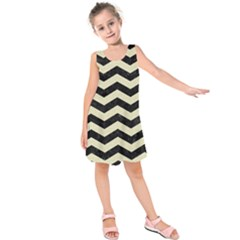 Chevron3 Black Marble & Beige Linen Kids  Sleeveless Dress by trendistuff