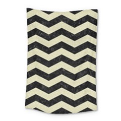 Chevron3 Black Marble & Beige Linen Small Tapestry by trendistuff