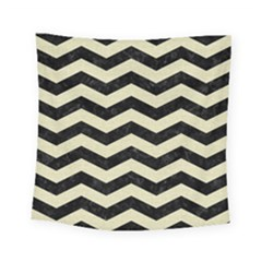 Chevron3 Black Marble & Beige Linen Square Tapestry (small) by trendistuff