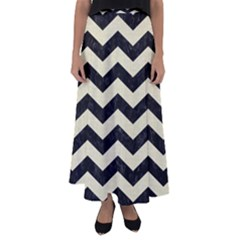 Chevron3 Black Marble & Beige Linen Flared Maxi Skirt by trendistuff