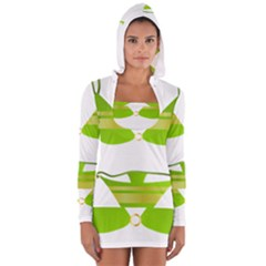Green Swimsuit Long Sleeve Hooded T Shirt
