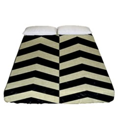 Chevron2 Black Marble & Beige Linen Fitted Sheet (queen Size)