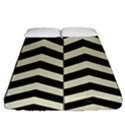 CHEVRON2 BLACK MARBLE & BEIGE LINEN Fitted Sheet (Queen Size) View1