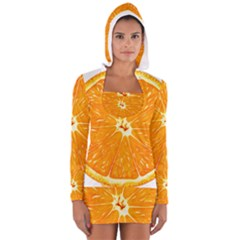 Orange Slice Long Sleeve Hooded T Shirt