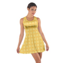 Yellow Pattern Background Texture Cotton Racerback Dress