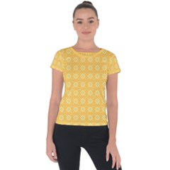 Yellow Pattern Background Texture Short Sleeve Sports Top  by BangZart
